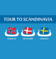 set of colorful emblem of scandinavian flags vector image