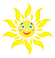 smiling sun with rays of different shapes icon on vector image