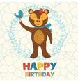 Happy birthday card with happy bear and bird vector image vector image