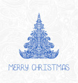 christmas tree New Year card vector image