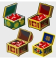 Four chests different colors with rubies vector image