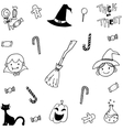Doodle of halloween candy and face vector image