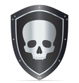 Black shield with skull vector image vector image