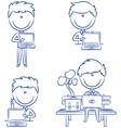 Businessman using laptop vector image