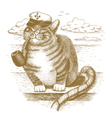 Cat captain drawn by hand vector image
