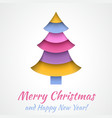 Colorful Merry Christmas greeting card with tree vector image