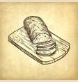 retro style of ciabatta bread vector image