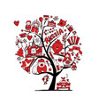 art tree with russian symbols for your design vector image