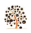 Halloween tree with pumpkins sketch for your vector image vector image