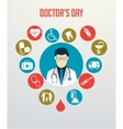 Doctor with stethoscope around his neck and vector image