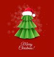 christmas greeting card with santa claus hat vector image