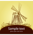 Decorative card with old mill vector image