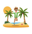 portrait man on the beach jump happy design vector image