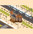 railway station building composition vector image