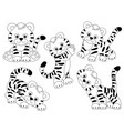 set of cute tigers vector image
