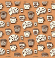 tea and coffee pattern doodle smiley cups on vector image