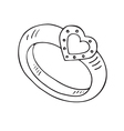 Wedding ring icon with heart vector image