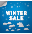 Winter Sale Title on Abstract Blue Sky Background vector image