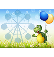 A turtle with two balloons at the carnival vector image vector image