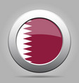 flag of qatar shiny metal gray round button vector image