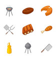 grilling icons set cartoon style vector image