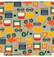 Seamless pattern of movie elements and cinema vector image vector image