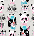 pattern of retro hipster animal portraits vector image vector image