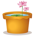 A pot with a waterlily and lotus flowers vector image
