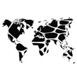 World map in animal print design black and white vector image
