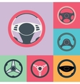 Car Steering Wheel Flat Icons Set vector image