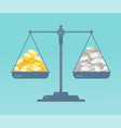 coins and on the scale vector image