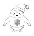 line icon christmas penguin cartoon vector image