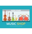 Music shop in flat design background concept vector image