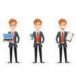 Set with handsome businessman in suit vector image