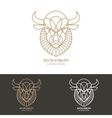 Bison head in line style vector image