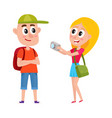couple of tourists with backpacks on vacation tour vector image