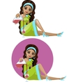 Cute young Indonesian woman in cocktail dress vector image