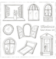 Doodle windows set isolated Hand drawn vector image