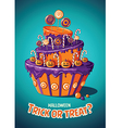 Halloween vintage poster Trick or treat Cake and vector image