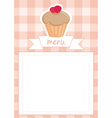 Template with cupcake plaid and white background vector image vector image