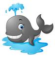 Happy cartoon whale vector image