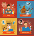 barber flat style compositions vector image