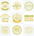 Set of Spring Vintage Typographic Badges Hello vector image