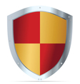 Yellow and red steel shield vector image