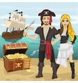 Young man and woman in pirate costume vector image