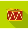 Red drum and drumsticks icon flat style vector image