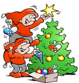 Cartoon of two happy Elf decorate the Christ vector image vector image