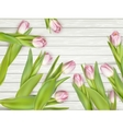 Beautiful tulips on wooden table closeup EPS 10 vector image