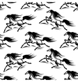 Black horses silhouettes seamless pattern vector image