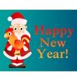 Card Santa Claus with a cock vector image
